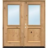 Half Lite Knotty Alder Wood Double Door Unit