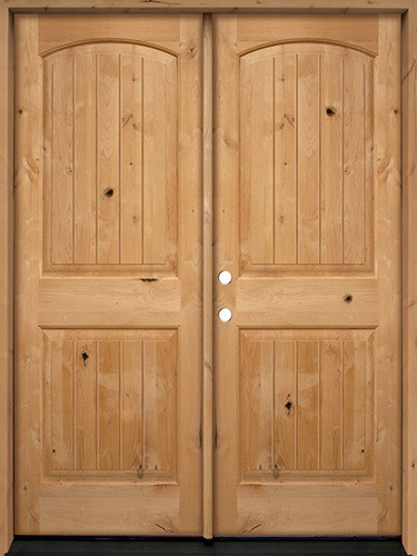 Cheap Rustic Knotty Alder Wood Double Door Unit Uk25