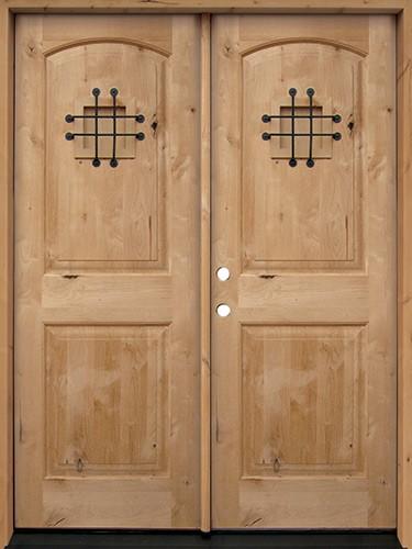 Rustic Knotty Alder Wood Double Door Unit #UK26