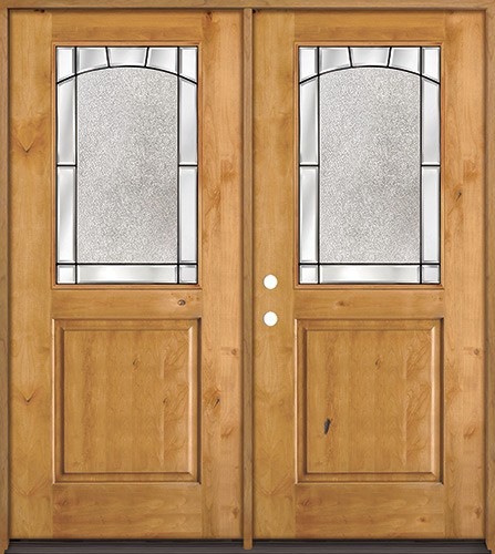 Half Lite Knotty Alder Wood Double Door Unit #27