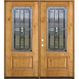 3/4 Lite Knotty Alder Wood Double Door Unit #277