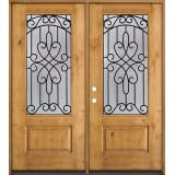 3/4 Lite Knotty Alder Wood Double Door Unit #279