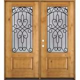 3/4 Lite Knotty Alder Wood Double Door Unit #279