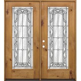 Full Lite Knotty Alder Wood Double Door Unit #292