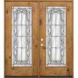 Full Lite Knotty Alder Wood Double Door Unit #292