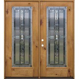 Full Lite Knotty Alder Wood Double Door Unit #297
