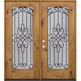 Full Lite Knotty Alder Wood Double Door Unit #299