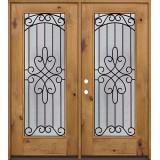 Full Lite Knotty Alder Wood Double Door Unit #299
