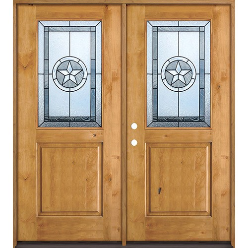 Half Lite Star Knotty Alder Wood Double Door Unit #40