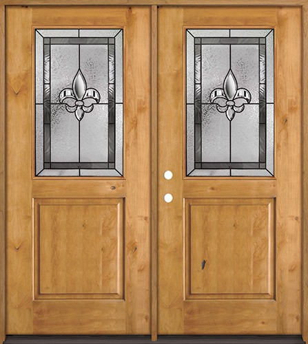 Half Lite Fleur-de-lis Knotty Alder Wood Double Door Unit #41