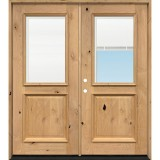 Half Mini-blind Knotty Alder Wood Double Door Unit
