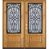 3/4 Iron Grille Knotty Alder Wood Double Door Unit #62