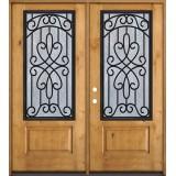 3/4 Iron Grille Knotty Alder Wood Double Door Unit #62