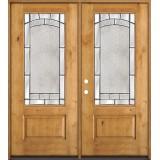 3/4 Lite Knotty Alder Wood Double Door Unit #67