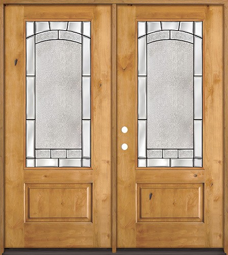 3/4 Lite Knotty Alder Wood Double Door Unit #67