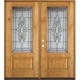 3/4 Lite Knotty Alder Wood Double Door Unit #73