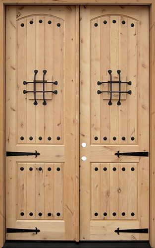 "8'0"" Tall Rustic Knotty Alder Wood Double Door Unit #UK20"