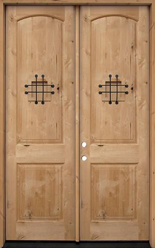 "8'0"" Tall Rustic Knotty Alder Wood Double Door Unit #UK26"