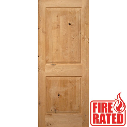 "Fire Rated 6'8"" 2-Panel Square Top Knotty Alder Door Slab"