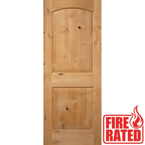 "Fire Rated 6'8"" 2-Panel Arch Knotty Alder Door Slab"