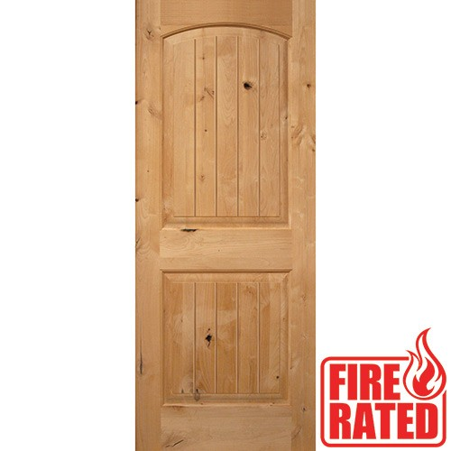 "Fire Rated 6'8"" 2-Panel Arch V-Groove Knotty Alder Door Slab"