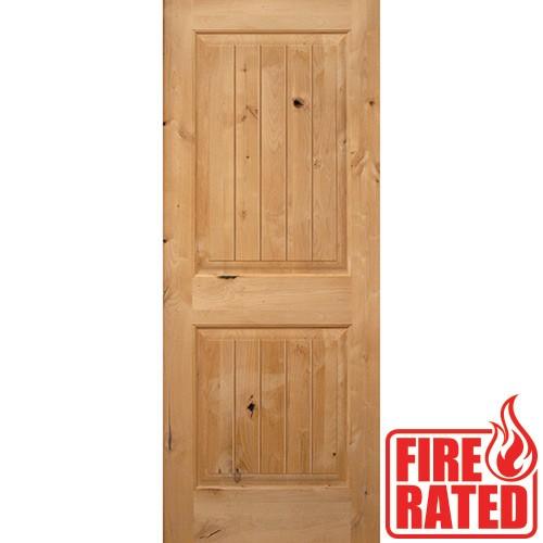 "Fire Rated 6'8"" 2-Panel Square Top V-Groove Knotty Alder Door Slab"