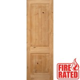 "Fire Rated 8'0"" 2-Panel Square Top V-Groove Knotty Alder Door Slab"