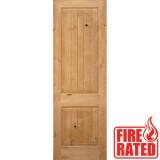 "Fire Rated 8'0"" 2-Panel Square Top V-Groove Knotty Alder Door Slab"