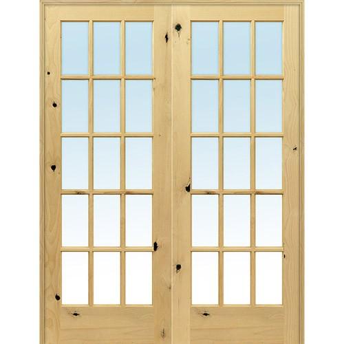 "Interior 6'8"" 15-Lite TDL Knotty Alder Wood Door French Unit"