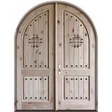 """8'0"""" Tall Rustic Knotty Alder Radius Top Double Door"""
