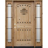 Rustic Knotty Alder Wood Door Unit with Sidelites #UK20