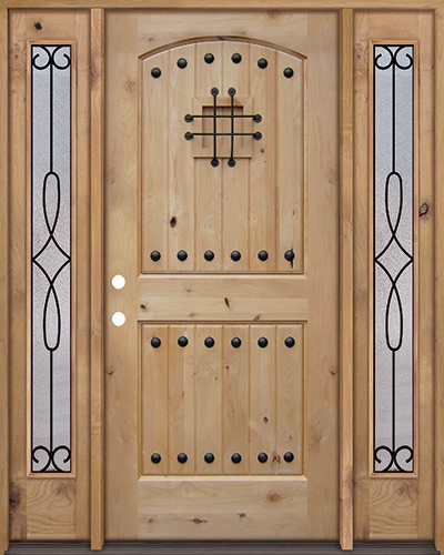 Rustic Knotty Alder Wood Door Unit with #299 Sidelites #UK20