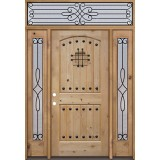 Rustic Knotty Alder Wood Door Unit with #299 Transom #UK20