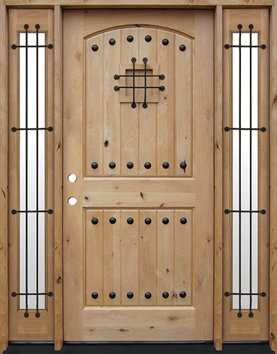 Rustic Knotty Alder Wood Door Unit with Sidelites #UK20
