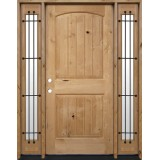 Rustic Knotty Alder Wood Door Unit with Sidelites #UK25