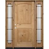 Rustic Knotty Alder Wood Door Unit with Sidelites #UK25
