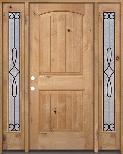 Rustic Knotty Alder Wood Door Unit with #299 Sidelites #UK25