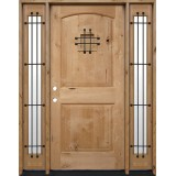 Rustic Knotty Alder Wood Door Unit with Sidelites #UK26