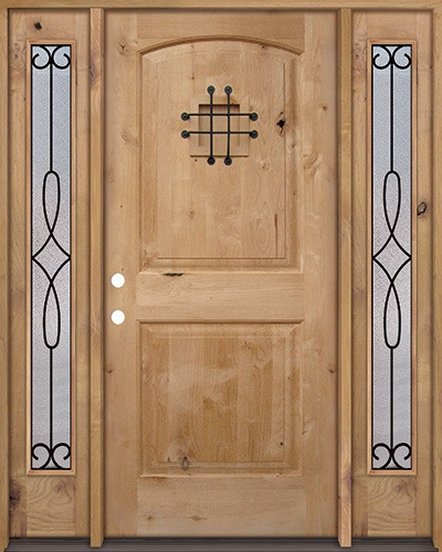 Rustic Knotty Alder Wood Door Unit with #299 Sidelites #UK26