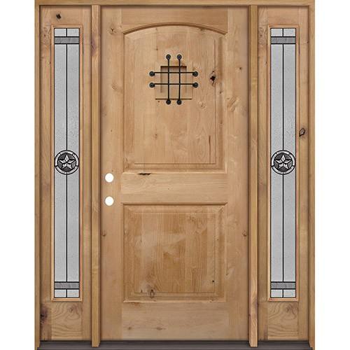 Rustic Knotty Alder Wood Door Unit with #90 Star Sidelites #UK26