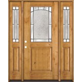 Half Lite Knotty Alder Wood Door Unit with Sidelites #27
