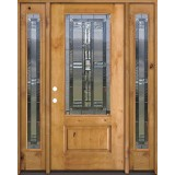 3/4 Lite Knotty Alder Wood Door Unit with Sidelites #277