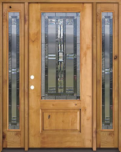 3/4 Lite Knotty Alder Wood Door Unit with Sidelites #277