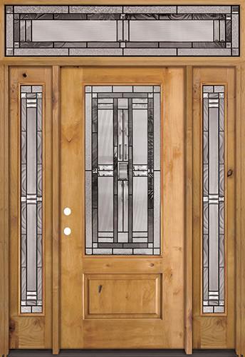 3/4 Lite Knotty Alder Wood Door Unit with Transom #277