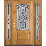 3/4 Lite Knotty Alder Wood Door Unit with Sidelites #279