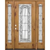 Full Lite Knotty Alder Wood Door Unit with Sidelites #292