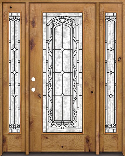 Full Lite Knotty Alder Wood Door Unit with Sidelites #292