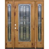 Full Lite Knotty Alder Wood Door Unit with Sidelites #297