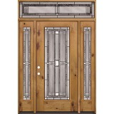 Full Lite Knotty Alder Wood Door Unit with Transom #297