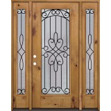 Full Lite Knotty Alder Wood Door Unit with Sidelites #299